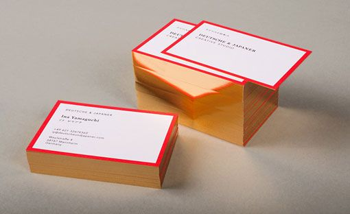 Deutsche & Japaner business cards. Melding the German and Japanese flags into a corporate identity.: Cards Design, Gold Edge, Business Cards, Identity Branding, Gold Foil, Corporate Identity, Creative Studios, Business Design, Stationery Design