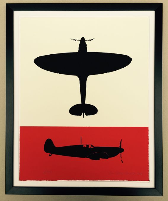 The Spitfire on red and white. Handmade screen print on cotton paper.  Signed and numbered out of 200 in pencil by the printer, John Patrick Reynolds