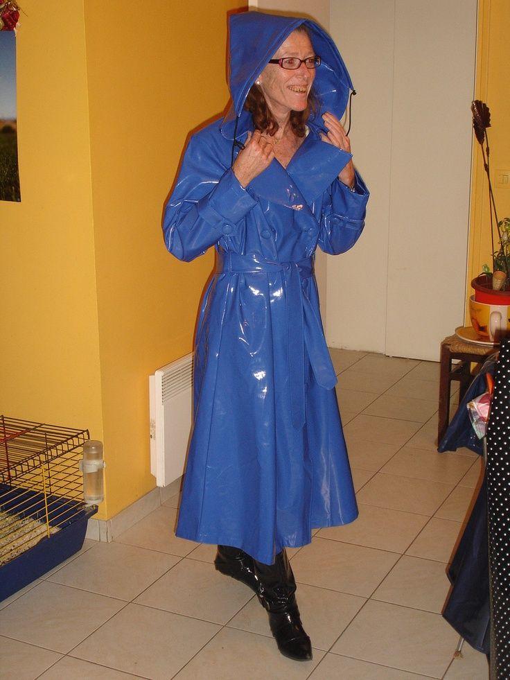 Blue PVC Hooded Raincoat