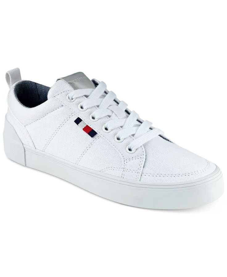 Your white sneaker look goes bold in the comfortable canvas stylings of Tommy Hilfiger's Priss sneakers. | Canvas fabric upper; manmade sole | Imported | Round-toe lace-up sneakers | Web ID:4368706