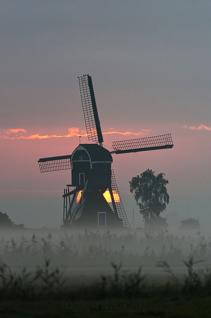 Morning mill - Herwijnen, The Netherlands: I love it when nature makes you re-focus to truly appreciate its awesomeness