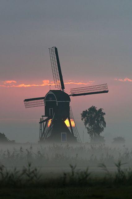 Morning mill - Herwijnen mooi zo in de laaghangende mist, ook dat is Nederland-----------lbxxx.