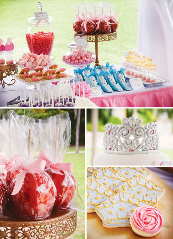 """Okay, I am stealing like over half the ideas for this. SOOO pretty and perfect. A rack of little tutu's (easy to make with elastic and tulle), little cinderella shoe candy favors, rose-frosting cookies, """"poisoned"""" apples, and tons more adorable ideas! :)"""