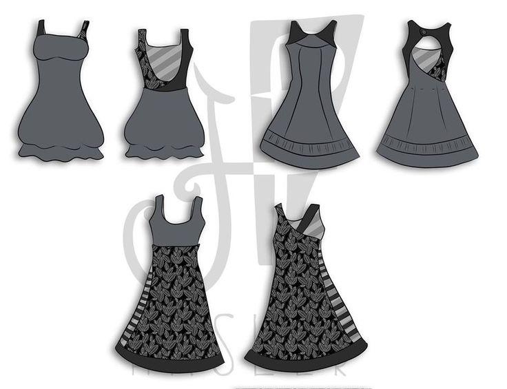 trazo plano de los tres vestidos de la colección Barro negro que se presentará en agosto 2014 en el DF