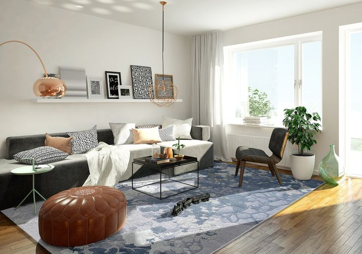 A carpet defines the focal point in any room. In the living room the sitting area can be enhanced with a handmade rug. Tundra in the living room of an apartmant residence.