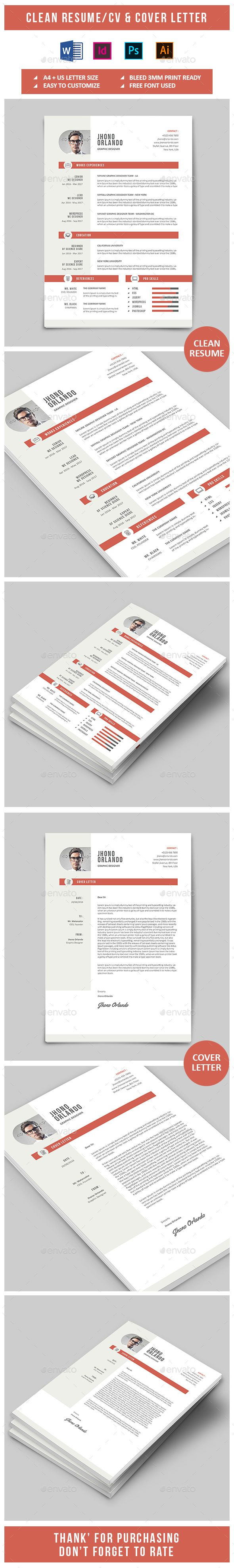 Clean Resume & Cover Letter Template InDesign INDD, MS Word, PSD - A4 International & US Letter Size
