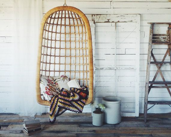 ***Shipping cost to be determined***  We are in love with this vintage bamboo hanging chair! We love how it can be dressed up with pillows and throws to suit limitless different styles. Try using stark whites and geometric patterns to give it a modern look or trendy tropical prints or southwestern prints to give it a bohemian one; the possibilities are endless! (Hardware and rope not included, message shop owner to determine shipping cost)
