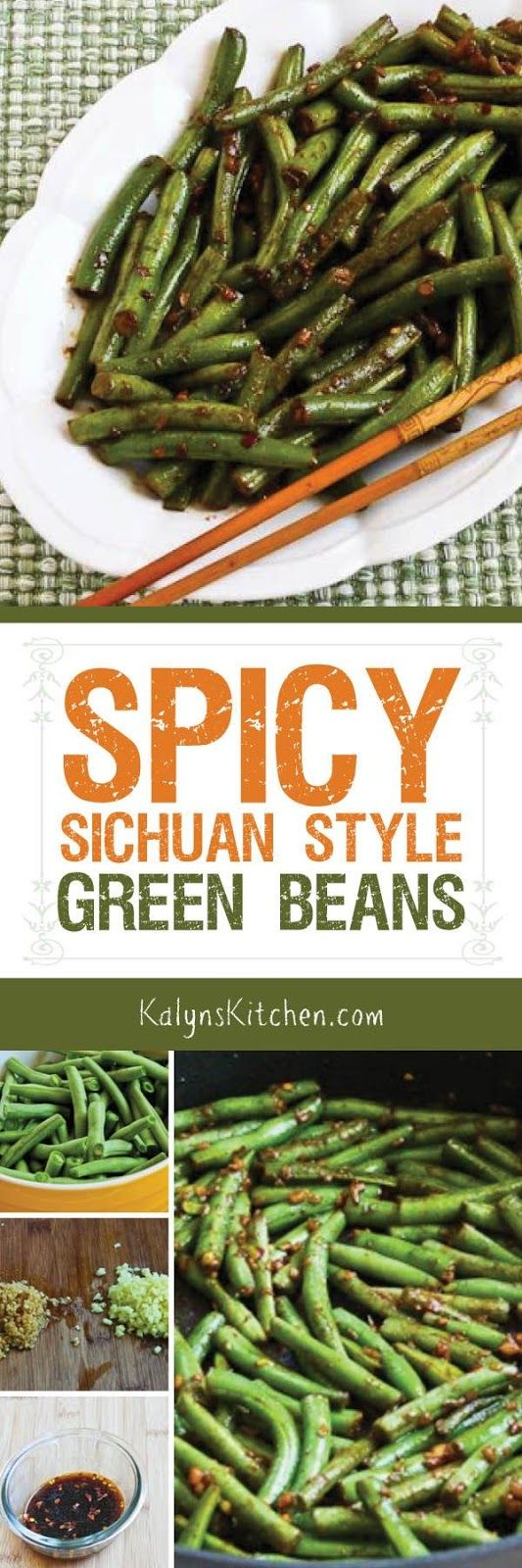 Spicy Sichuan Style Green Beans [from KalynsKitchen.com] are low-carb, Keto, gluten-free, South Beach Diet friendly, and Vegan!