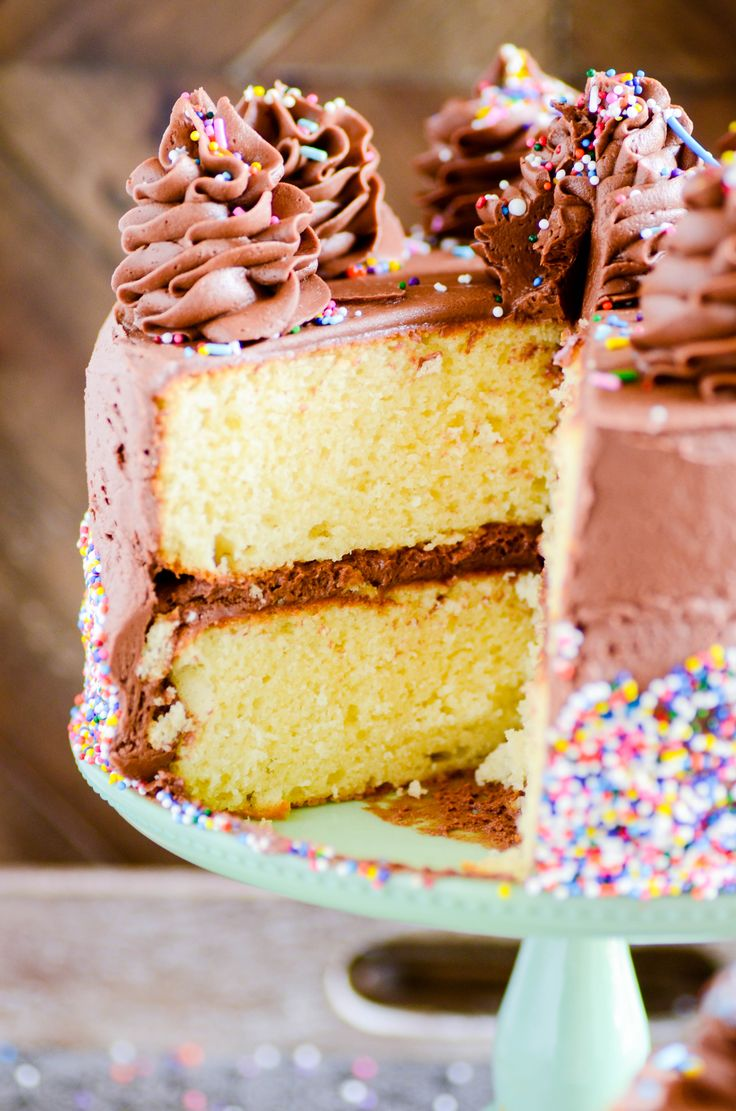 Another Yellow Birthday Cake with Chocolate Frosting http://www.somethingswanky.com/another-yellow-birthday-cake-chocolate-frosting/?utm_campaign=coschedule&utm_source=pinterest&utm_medium=Something%20Swanky&utm_content=Another%20Yellow%20Birthday%20Cake%20with%20Chocolate%20Frosting