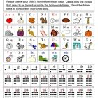 Make your own Kindergarten Homework Folder with reference sheets that include alphabets (with pictures), numbers (with dots to show quantity), spel...