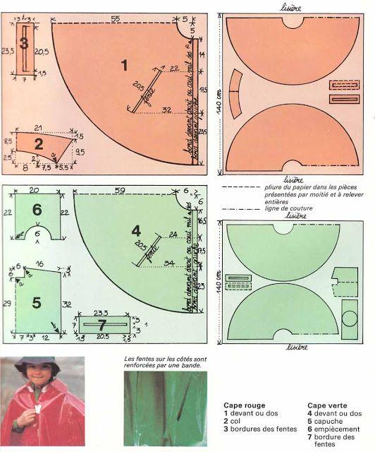 """encyclopédie """" les doigts d'or"""" année 70, free pattern,, cape de pluie enfant couture facile"""