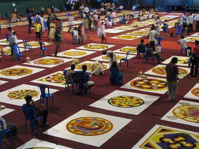 Kerala Onam Pictures: Onam Floral Carpet Contest