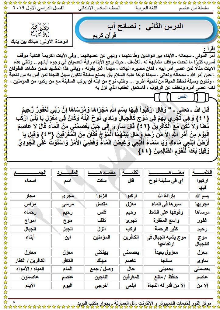 مذكرة لغة عربية للصف السادس الابتدائى الترم الأول Sheet Music Exam Music