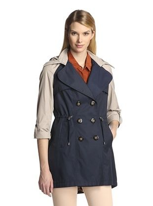 71% OFF Laundry by Shelli Segal Women's Colorblock Trench (Navy/Seashell)