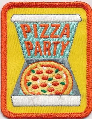 Girl Boy Cub Pizza Party Box Large Fun Patches Crests Badges Scout Guide Iron On   eBay