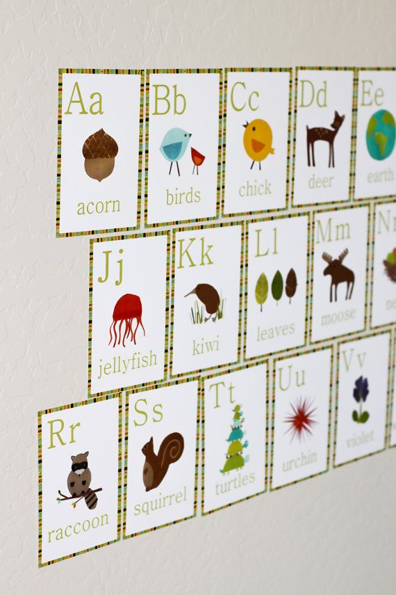 Alphabet Wall Cards 5x7 English Nature Themed by ChildrenInspire