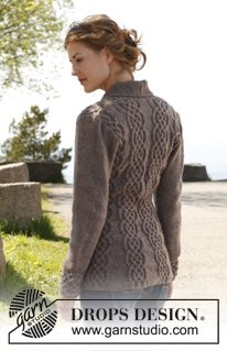 """Knitted DROPS fitted jacket with cables and shawl collar in """"Lima""""."""