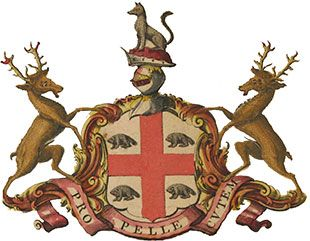 1678-Four beavers on the arms of the Hudson's Bay crest
