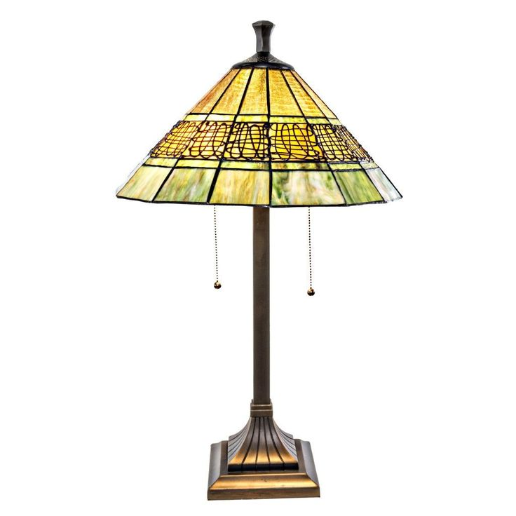 """River of Goods 26""""H Craftsman Style Stained Table Lamp with Filigree Detail"""
