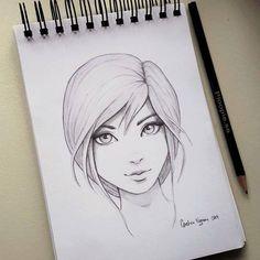 chica dibujada a lapiz