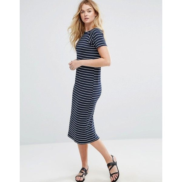 ASOS Midi T-Shirt Dress With Shoulder Cut Outs In Stripe ($38) ❤ liked on Polyvore featuring dresses, multi, striped t-shirt dresses, midi t shirt dress, stripe dresses, short sleeve prom dresses and short sleeve dress
