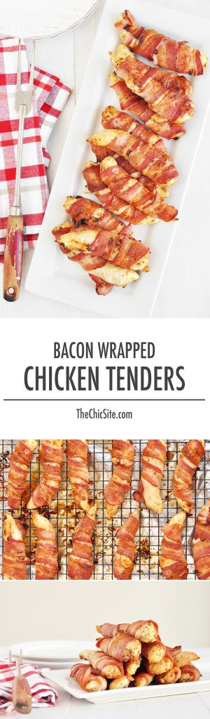 HIGH PROTEIN SNACK: Bacon Wrapped Chicken Tenders--Think I'll add a few ingredients and make a wrap out of these
