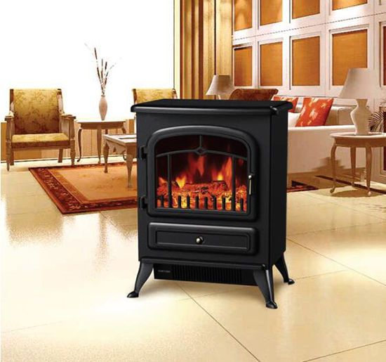 Adjust 750W /1500W Electric Fireplace Free Standing Heater Fire Flame Stove