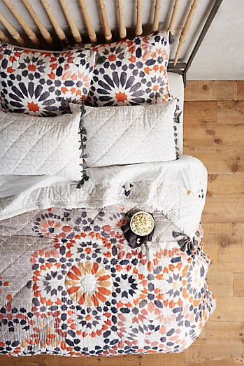 Zellige Quilt. Our hothouse quilts are a labour of love - after all, each one takes 72 hours, 60 hands, 13 different processes and countless colours to create. We love the geometric motif and calming hues of this Moroccan tile inspired collection.
