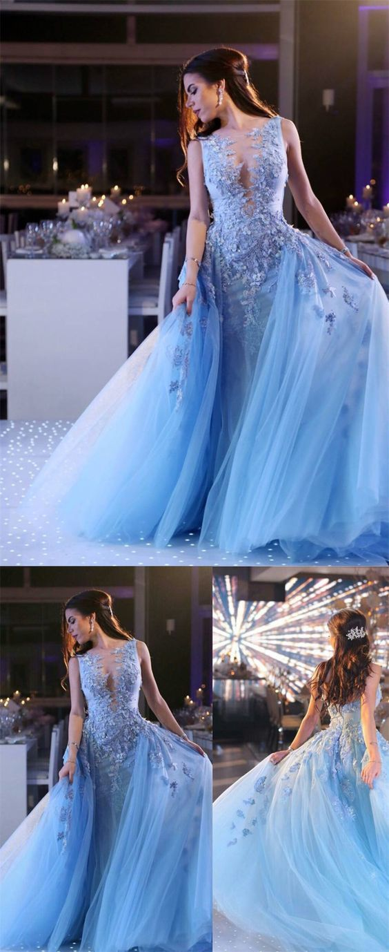 A-Line Deep V-Neck Sweep Train Blue Tulle Prom Dress with Appliques Beading d656eaaba