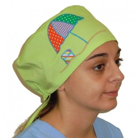 Handmade scrub hat for medical and surgical use. This applique beach umbrella design will make your day...sunny!