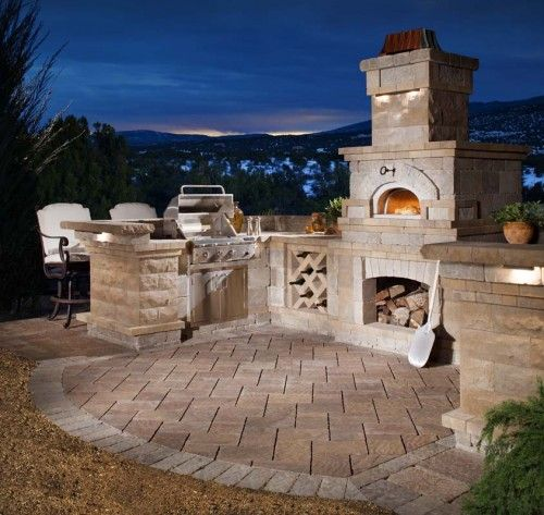 Outdoor Kitchen with a Pizza Oven and an Incredible View