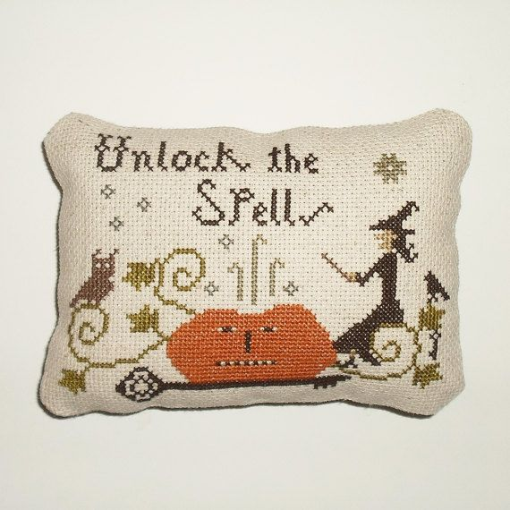 Completed Primitive Halloween Cross Stitch Pinkeep by arcadecache