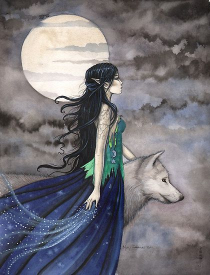 """""Night of the Wolf"" Gothic Fantasy Art by Molly Harrison"" by Molly Harrison 