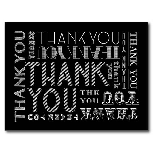 Carte postale de typographie de craie de Merci