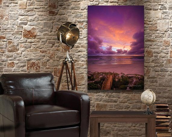 Custom Canvas Vibrant Purple Sunset Nautical by NadbradDesigns