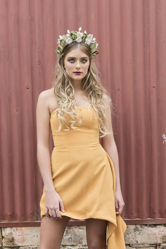 The 'Arden' - Designer Gold Crown / Spring Racing / Green Floral Crown / Flower Crown