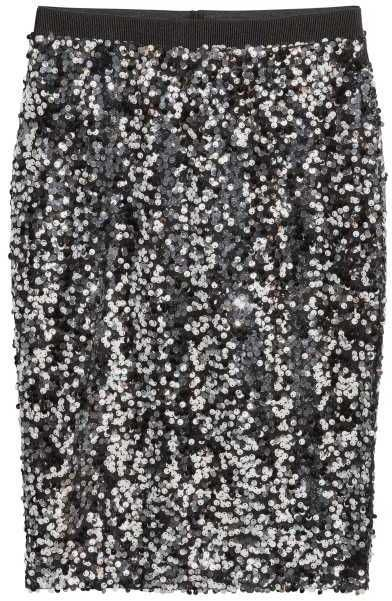H&M - Sequined Skirt - Black/silver-colored - Ladies
