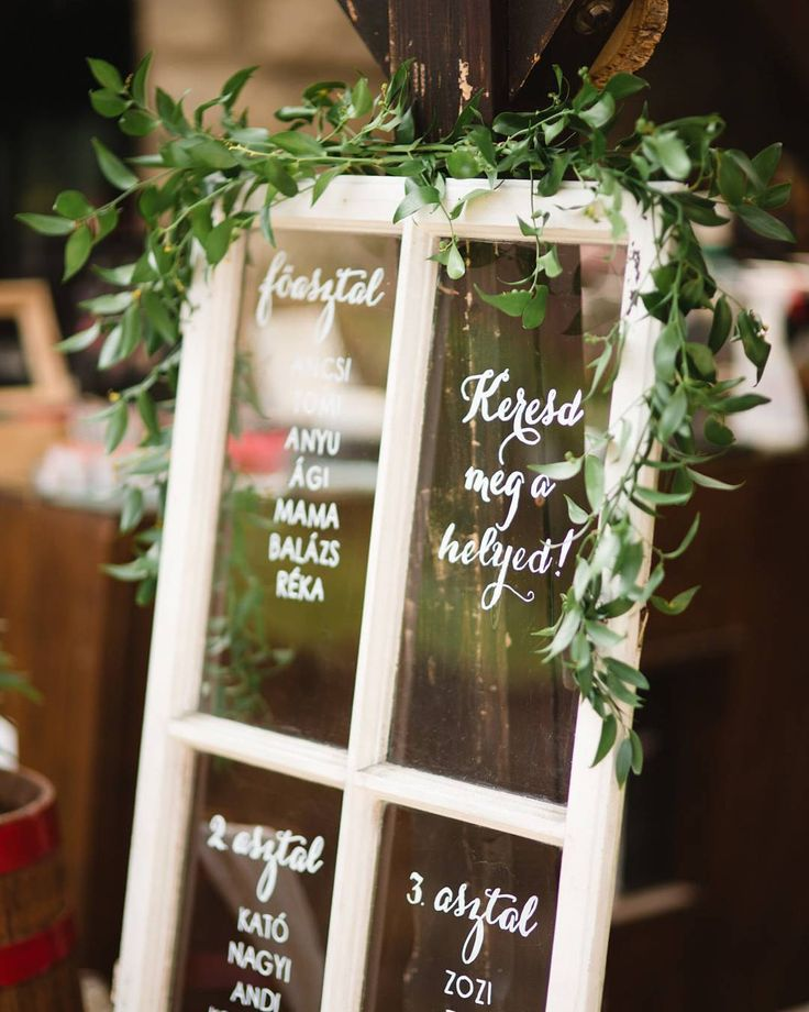 Seating chart done right in the green way  Decor by the amazing @emeseszakacs #naturalweddingdecor