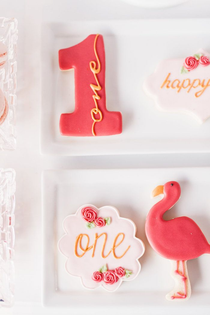 1st birthday flamingo sugar cookies from Kara's Party Ideas! Check out this…