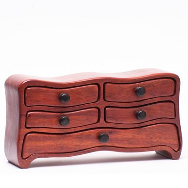 "Baerreis ""Lowboy"" -  Jewelry Earring Ring Cufflink Dresser Top Notions Box Shown in Santos Mahogany- MADE TO ORDER  The ""Lowboy"" is a small box, about 8.5 - 10 inches wide, 4.5 - 5 inches tall and 3 -"