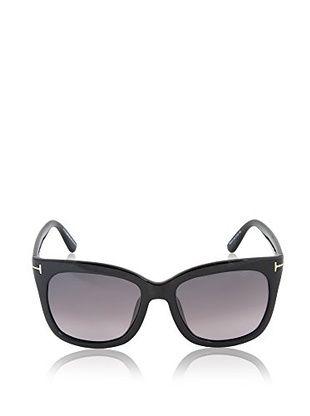 Tom Ford Unisex Black Rectangular Wayfarer Sunglasses 57mm