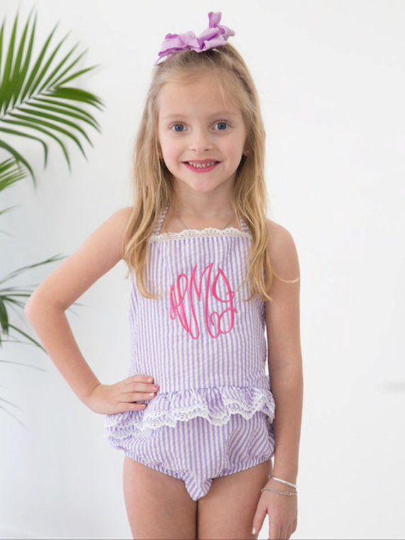 27e6e12c2d Girls Monogram Swimsuit, Monogram Seersucker Swimsuit, Monogram Bathing Suit,  Monogram One Piece Swimsuit, Ruffled Swimsuit, Ruffle Bikini