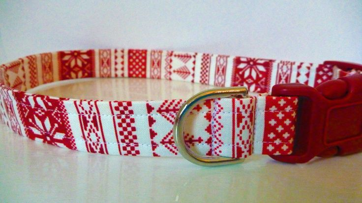 """Nordic Sweater Dog Collar - Red & White Sweater - """"Nordic"""" - No Extra Charge for Colored Buckles by katiesk9kollars on Etsy"""