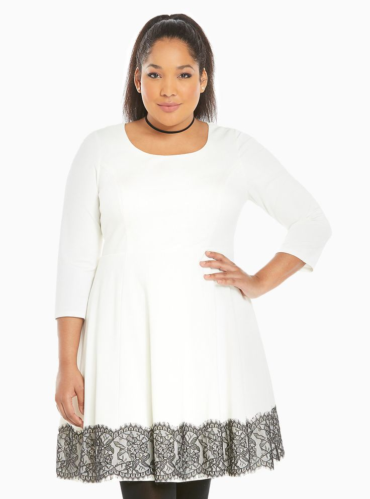 """This skater dress is a thicker ivory knit with long sleeves and a fitted bodice. The slightly flared skirt (lifted off by a tulle underlay) has a black lace border. Sophisticated, elegant, look up whatever synonym and this dress will be next to it.<div><br></div><div><b>Model is 5'10"""", size 1<br></b><div><ul><li style=""""LIST-STYLE-POSITION: outside !important; LIST-STYLE-TYPE: disc !important"""">Size 1 measures 41"""" from shoulder</li><li style=""""LIST-STYLE-POSITION: outside !important;..."""
