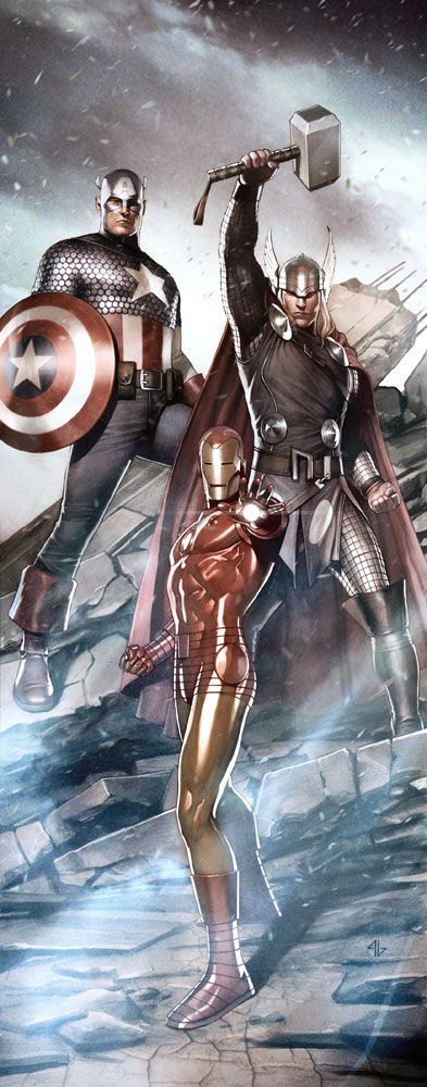 captain america thor and iron man by adi granov geek