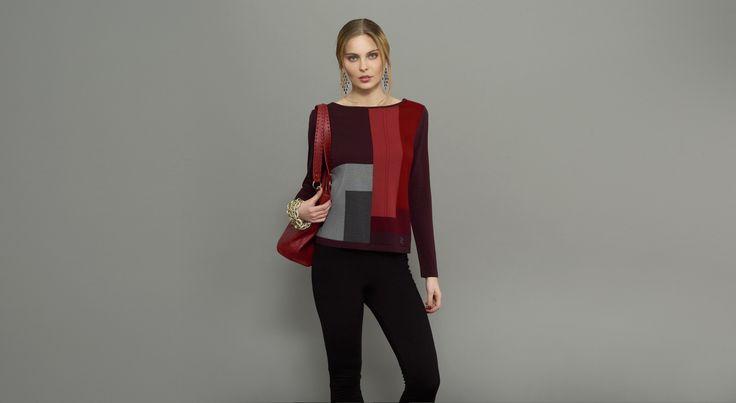 Jersey manga larga de punto de lana lavable con intársia y pantalón leggin de punto de lana lavable. #Naulover #Moda #ModaMujer #Fashion