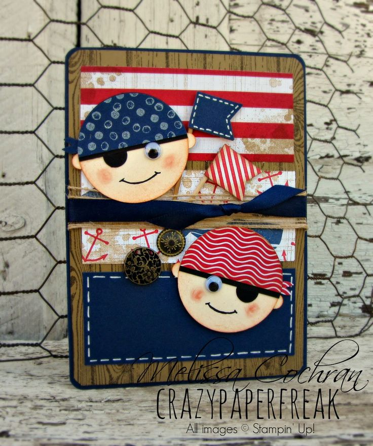 Stampin' Up! Pirate Birthday card created by Melissa @ crazypaperfreak.blogspot.com. Gorgeous Grunge, Hello Sailor, Banner Blast, Fresh Prints, nautical, pirate, handmade greeting card, kids