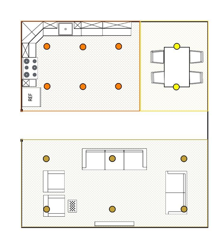 Image of a room with segments for calculating how many recessed lights each area will need