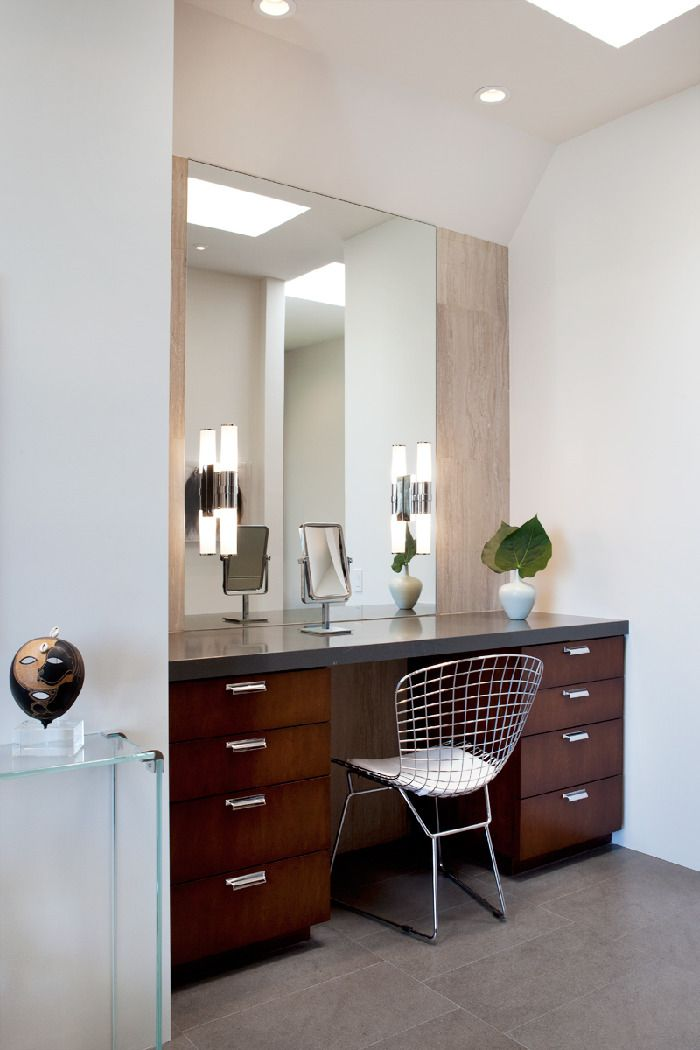 Cozy Metal Chair Facing Wooden Bathroom Vanity Ideas With Grey Top Under Wide Wall Mirror
