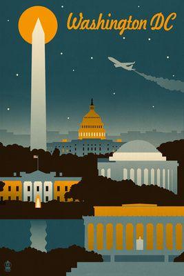 Washington, DC - Retro Skyline - Lantern Press Poster